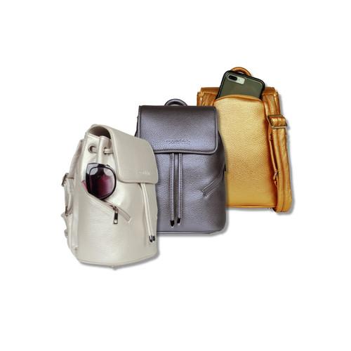 SportsChic Women's Vegan Mini Backpack - Metallic Bronze, Metallic Pewter, Titanium white