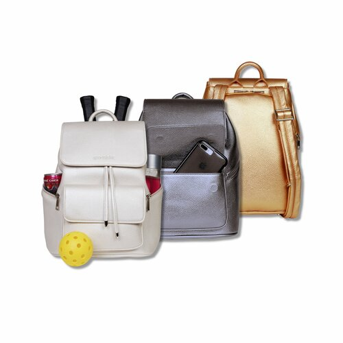 SportsChic Women's Vegan Midi Backpack - Metallic Pewter, Titanium White, Metallic Bronze