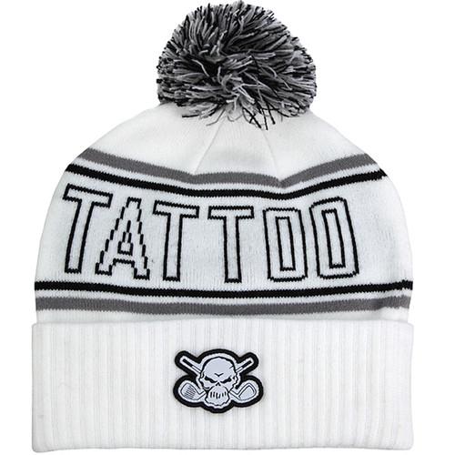 Tattoo Golf Cuffed Pom Knit Beanie (White)