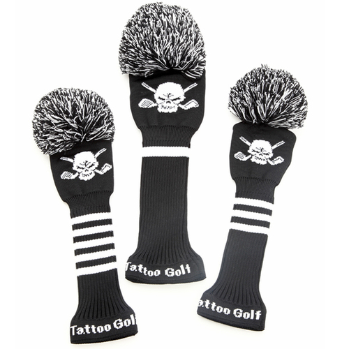 Tattoo Golf Old School Knit Golf Club Covers (Black)