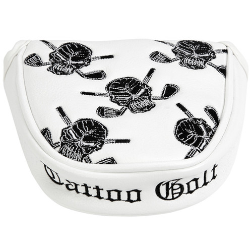Tattoo Golf Golf Putter Cover -Two Ball / Mallet Style (White)