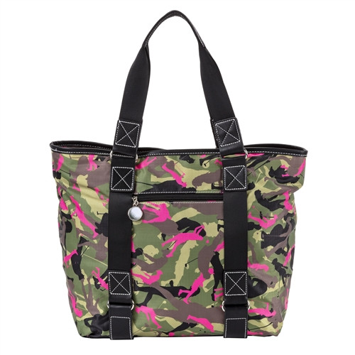 Sydney Love Olive Camo East West Tote is accented with rich faux leather trim. Double shoulder straps done in solid black nylon.