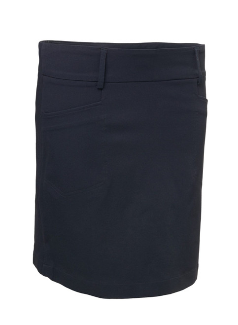 """Abacus Sportswear Women Grace Skort 19"""" - Navy  has two front and two back pockets give room for the necessities. Inner shorts in soft jersey. Loops around waist allows for a belt. This skort work just as well on course as off course."""