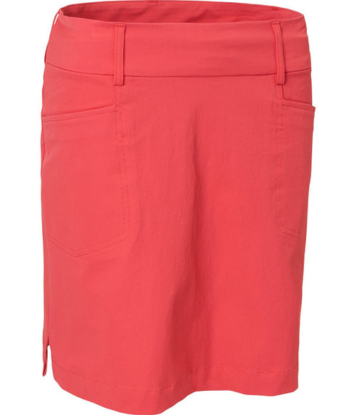 """Abacus Sportswear Women Grace Skort 19"""" - poppy red  has two front and two back pockets give room for the necessities. Inner shorts in soft jersey. Loops around waist allows for a belt. This skort work just as well on course as off course."""