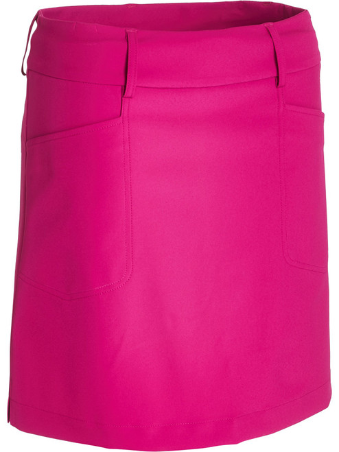 """Abacus Sportswear Women Grace Skort 19"""" - power pink has two front and two back pockets give room for the necessities. Inner shorts in soft jersey. Loops around waist allows for a belt. This skort work just as well on course as off course."""