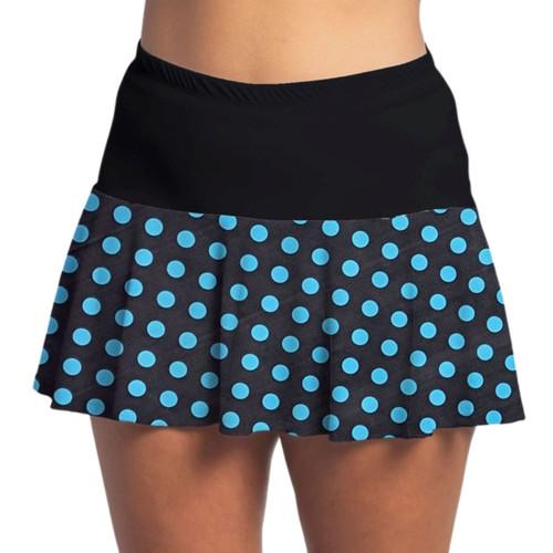 FestaSports Turquoise Mini Dot w/ Black Top Flounce Skort