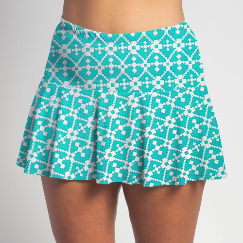 FestaSports Jade Geometric all over print Flounce Skort  is fabulous for all activewear and running around town getting things done. The specialized FestaFit makes this skort a must have for function and comfort. Inner shorts have lower leg band to store balls during fierce tennis matches.