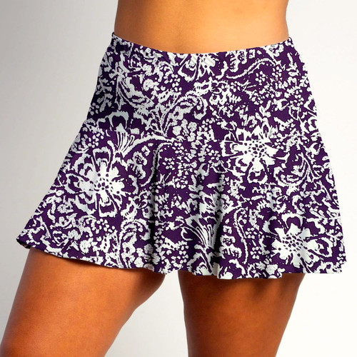 FestaSports Fight Fight Plum and White all over print Flounce Skort  is fabulous for all activewear and running around town getting things done. The specialized FestaFit makes this skort a must have for function and comfort. Inner shorts have lower leg band to store balls during fierce tennis matches.