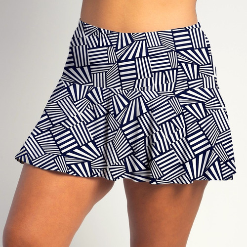 FestaSports Blue Lattice all over print Flounce Skort  is fabulous for all activewear and running around town getting things done. The specialized FestaFit makes this skort a must have for function and comfort. Inner shorts have lower leg band to store balls during fierce tennis matches.