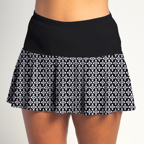 FestaSports Criss Cross w/Black Top Flounce Skort  is fabulous for all activewear and running around town getting things done. The specialized FestaFit makes this skort a must have for function and comfort. Inner shorts have lower leg band to store balls during fierce tennis matches.