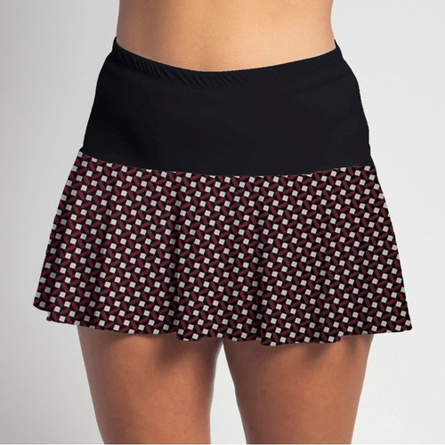 FestaSports Burgundy Checkerboard with Black Top Flounce Skort  is fabulous for all activewear and running around town getting things done. The specialized FestaFit makes this skort a must have for function and comfort. Inner shorts have lower leg band to store balls during fierce tennis matches.