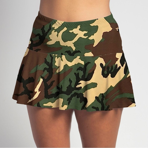 FestaSports Camouflage Flounce Skort  is fabulous for all activewear and running around town getting things done. The specialized FestaFit makes this skort a must have for function and comfort. Inner shorts have lower leg band to store balls during fierce tennis matches.