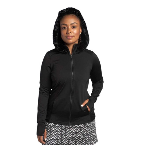 FestaSports Mesh Back Jacket w/ Fur lined Hood - Black