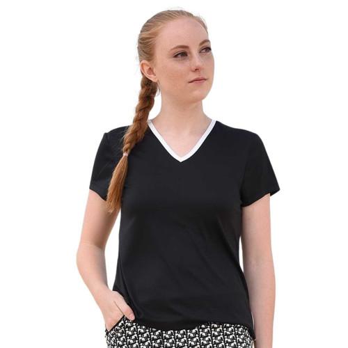 FestaSports Short Sleeve Tee - Black with White Trim