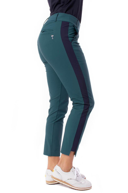 Golftini Green with Navy Stripe Pull-On Stretch Ankle Pant -  This lightweight stretch pant offers sophistication and comfort, to be worn for golf, dinner, or a work-from-home look.