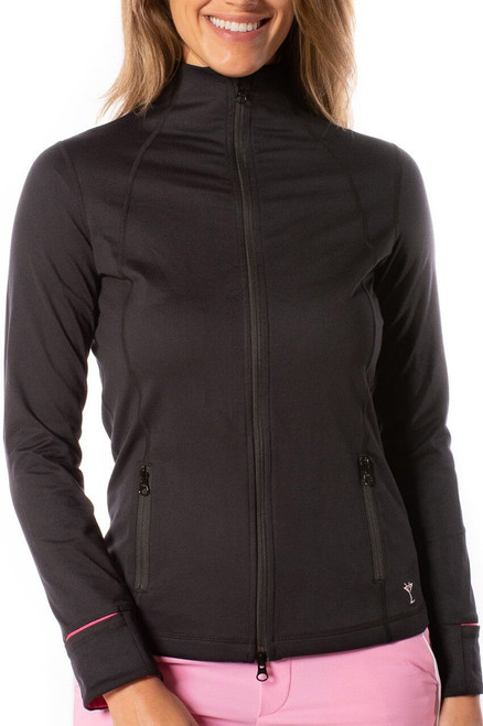 Golftini Black and Pink Double-Zip Women's Golf Jacket has all the same details and features you love. Its buttery-soft material is just as comfortable as it sounds and the little details that went into it will be loved