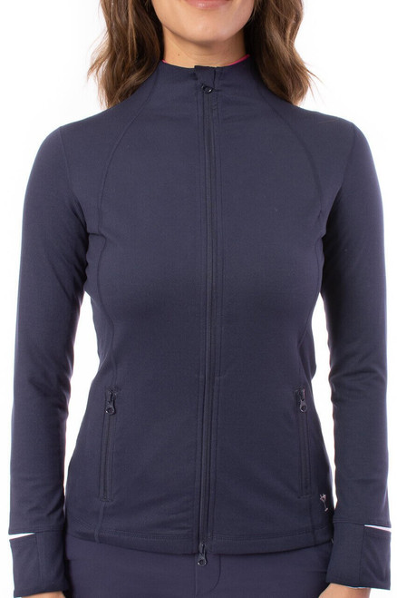 Navy/White Double Zipper Tech Jacket has all the same details and features you love. Its buttery-soft material is just as comfortable as it sounds and the little details that went into it will be loved. Wherever the day takes you, you will be riding in style.