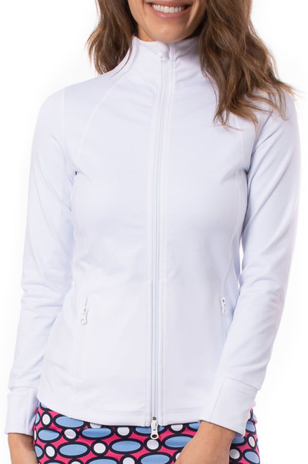 Golftini White Double Zipper Women's Golf Jacket has all the same details and features you love. Its buttery-soft material is just as comfortable as it sounds and the little details that went into it will be loved. Wherever the day takes you, you will be riding in style.
