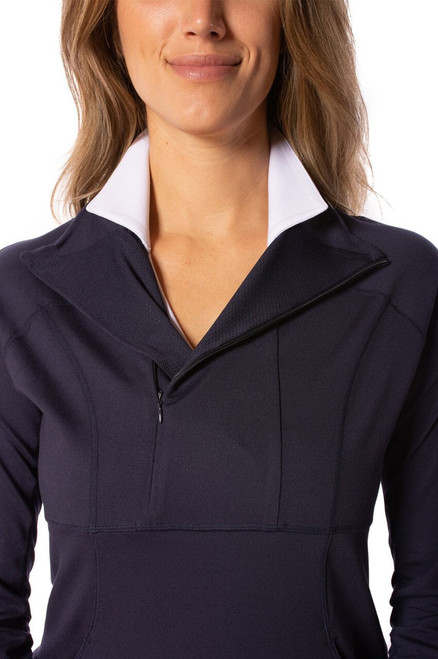 Golftini Navy Contrast Quarter Zip Golf Pullover can be worn in two ways! Zipped for warmth and sun protection as well as unzipped for fashion! This layering piece transitions from the course, gym, brunch, errands, or wherever the day takes you, in style and comfort!