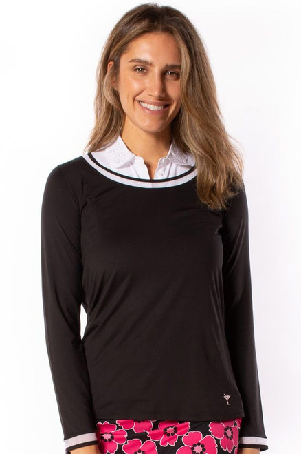 Golftini Black Long Sleeve Top with White Mesh Trim