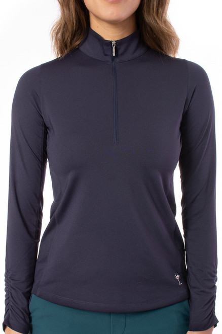 The mock collar zips up for coverage from all the elements and the material, like always has built-in sun protection.