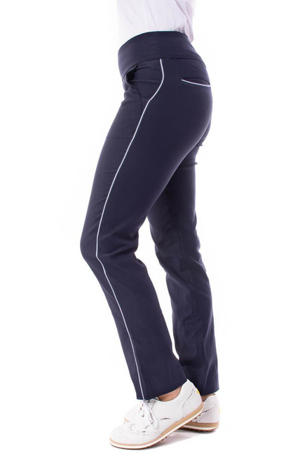 Feel triumphant in Golftini's Navy Trophy Pull-On Stretch Twill Pant waistband and slimming stretch white ribbon accents along the sides, these pants allow you to look and feel your best on the golf course.