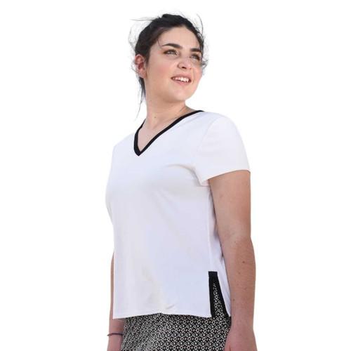 FestaSports White with black trim Shorts Sleeve V-neck Tee