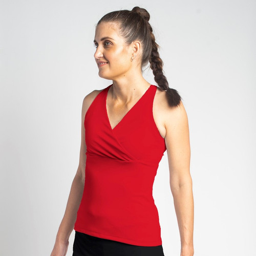 Festasports' Solid Red Racerback tank top is made in fantabulous activewear fabric.