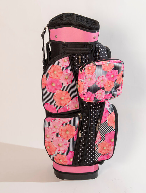 With fewer pockets than our deluxe cart bags, these bags are lighter, weighing only 3.5 pounds. Shoulder strap is located at back of bag, allowing us to design more pockets and features on front side of golf bag. We switched out the round purse for a rectangular clutch-style purse that can be worn as a cross-body bag.