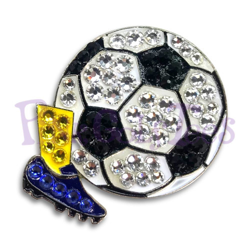 Soccer - Bonjoc Swarovski Crystal Golf Ball Marker Accessory with magnetic hat clip.  Handcrafted with 100% genuine Swarovski crystal.  Perfect for corporate gifts or tee prizes. Comes with carrying pouch.