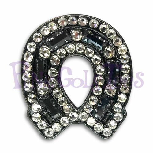 Black Horse Shoe - Bonjoc Swarovski Crystal Golf Ball Marker Accessory with magnetic hat clip.  Handcrafted with 100% genuine Swarovski crystal.  Perfect for corporate gifts or tee prizes. Comes with carrying pouch.