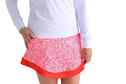 Birdies & Bows Red Ombre Speckle Golf Skort is the new flattering Drive It Golf Skort in Red speckles