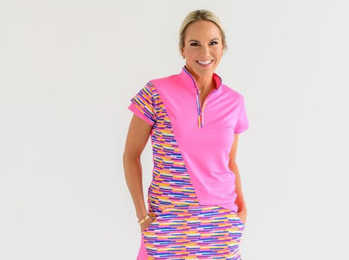Birdies & Bows Hot Pink Lob Shot Ladies Golf Polo with a fun flirty double layer sleeve and contrast piping at the neck. A zipper allows you to wear it with as much neckline as you like to show!