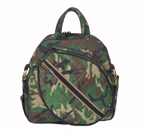 The Cinda b Camo Tennis Tote's front racquet pocket holds up to 2 standard-sized racquets.