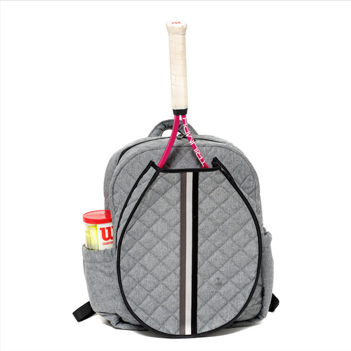Cinda b Heather Grey Tennis Backpack has a roomy interior and could fit two standard size tennis racquet