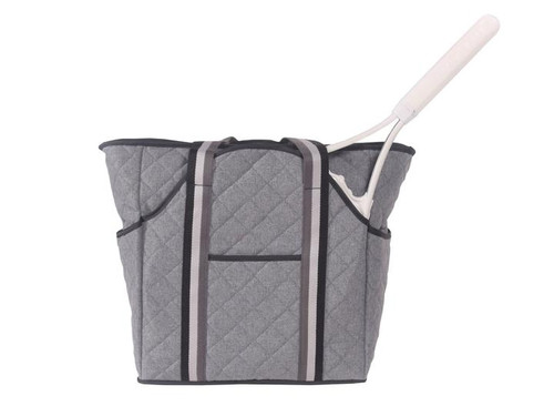 The Cinda b Heather Grey Tennis Court Bag is a mix of fashionable and functional tennis tote bag that can hold two tennis racket and has spacious interior