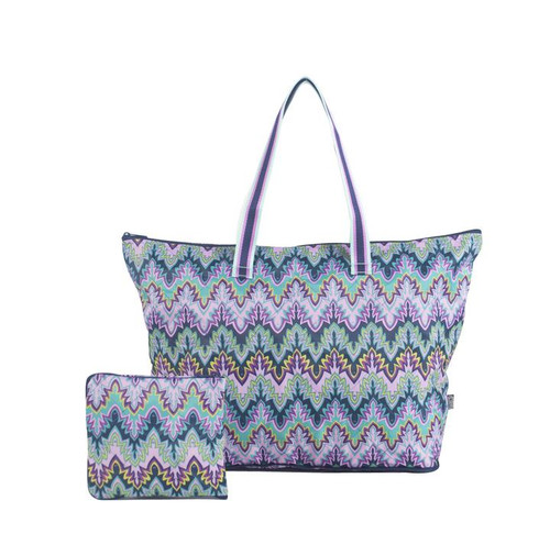 Cinda b Verde Bonita Packable Zip Tote  is a super durable and large tote bag that allows you to fold up and pack this tote bag flat to fit inside even the fullest of suitcases.