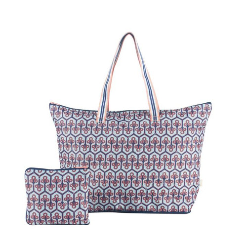 The  Cinda b Neptune Packable Zip Tote is a super durable and large tote bag that allows you to fold up and pack this tote bag flat to fit inside even the fullest of suitcases.