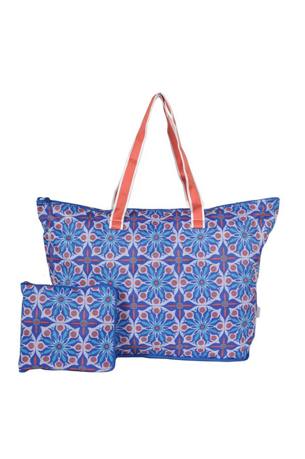 Cinda b Royal Bonita Packable Zip Tote is a super durable and large tote bag that allows you to fold up and pack this tote bag flat to fit inside even the fullest of suitcases.