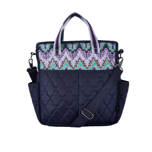 Cinda b Midnight Calypso Out and About Women's Large Tote Bag is a dependable tote bag that will simplify your life. Go hands-free by using the adjustable crossbody strap, or carry it as a handbag with the soft webbing top handles.