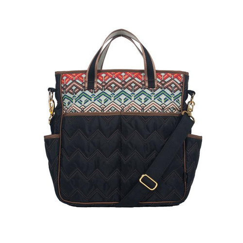 Cinda b Ravinia Black Out and About Women's Large Tote Bag is a dependable tote bag that will simplify your life. Go hands-free by using the adjustable crossbody strap, or carry it as a handbag with the soft webbing top handles.