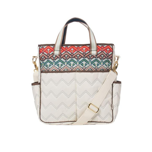 Cinda b Ravinia Ivory Out and About Women's Large Tote Bag is a dependable tote bag that will simplify your life. Go hands-free by using the adjustable crossbody strap, or carry it as a handbag with the soft webbing top handles.