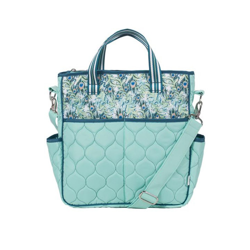 Cinda b Peacock Out and About Women's Large Tote Bag is a dependable tote bag that will simplify your life. Go hands-free by using the adjustable crossbody strap, or carry it as a handbag with the soft webbing top handles.