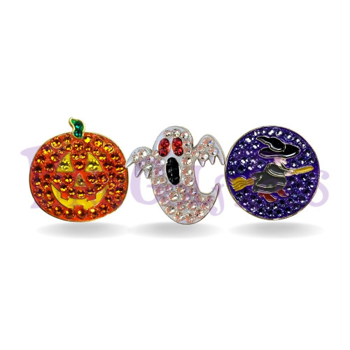 halloween bundle - Bonjoc Swarovski Crystal Golf Ball Marker Accessory with magnetic hat clip.  Handcrafted with 100% genuine Swarovski crystal.  Perfect for corporate gifts or tee prizes. Comes with carrying pouch.