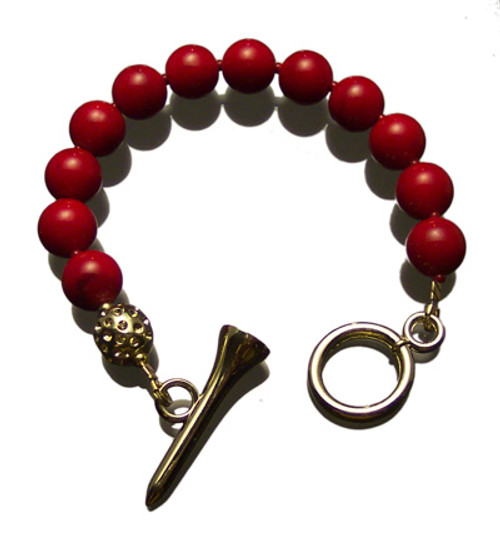 Sporty Chic Red Coral Golf Tee Toggle Bracelet