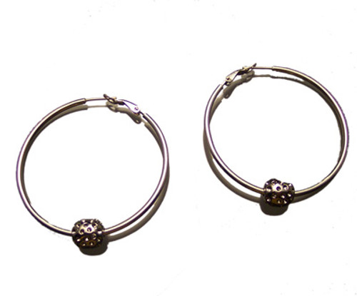Sporty Chic Silver Hoop Golf Earrings