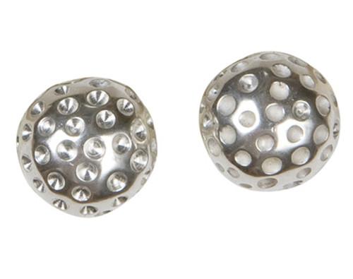 Sporty Chic Silver Golf Ball Earrings