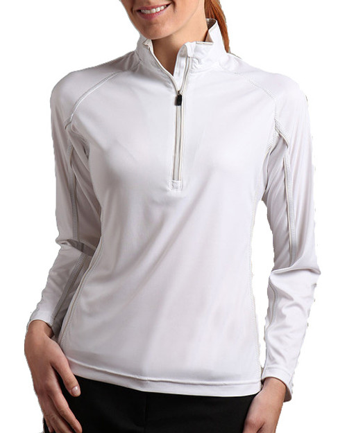 Glen Echo White Ladies Half Zip Pullover