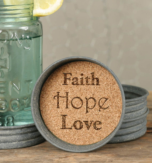 Mason Jar Coaster - Faith Hope Love
