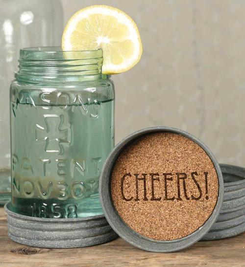 Mason Jar Coaster- Cheers